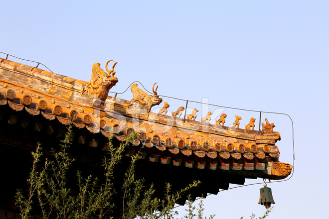 roof decorations in yonghe temple beijing china stock photos