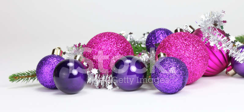 Purple bauble stock photos freeimages purple and pink baubles with tinsel junglespirit Images