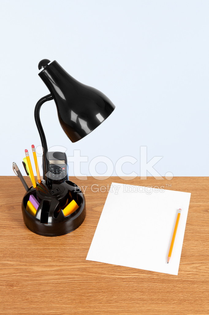Desk Organizer Lamp Paper And Pencil