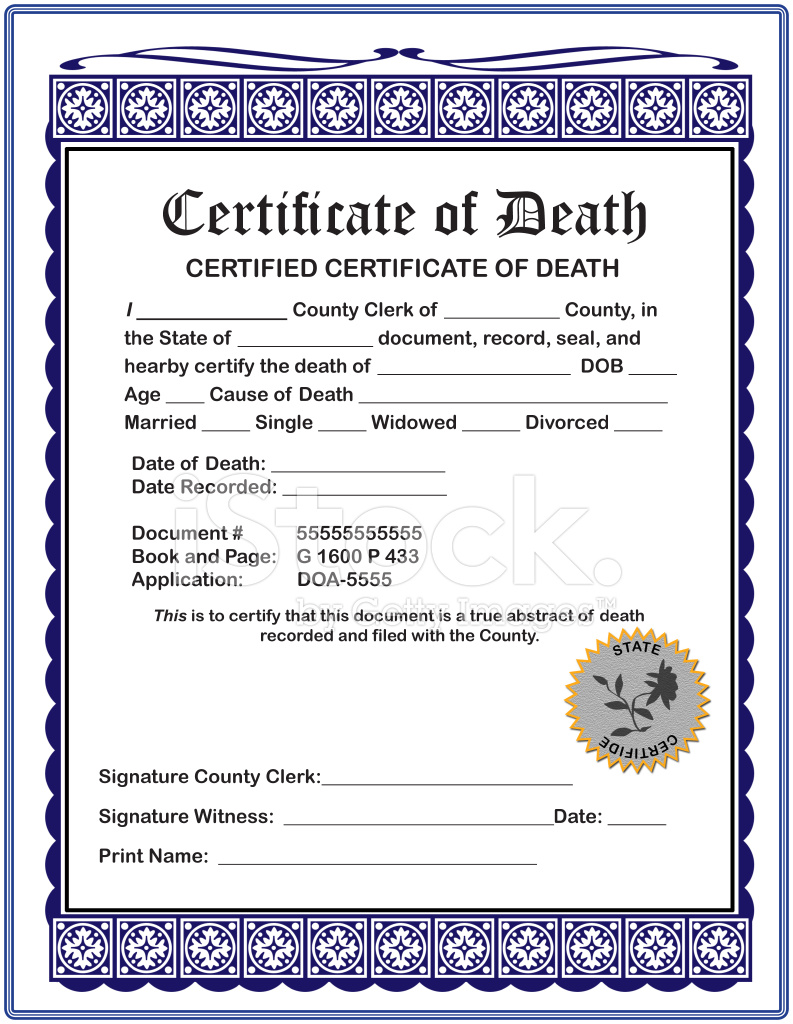 Blank certificate of death stock photos freeimages blank certificate of death 1betcityfo Gallery