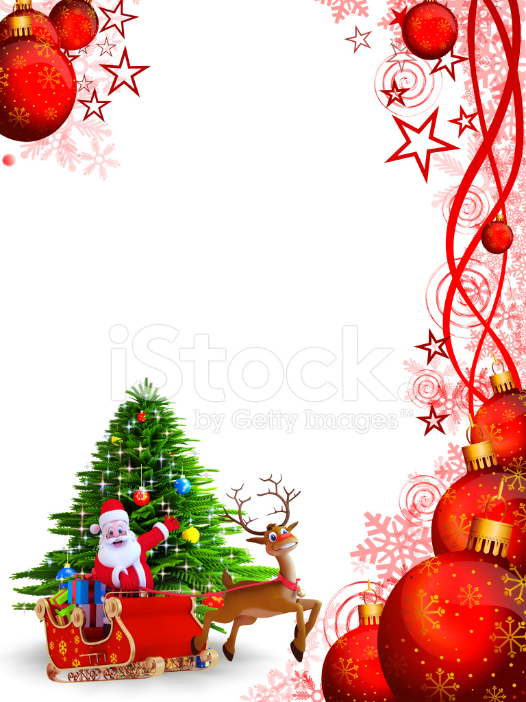 Santa Claus MIT Seinem Schlitten Auf Rotem Hintergrund Stockfotos ...