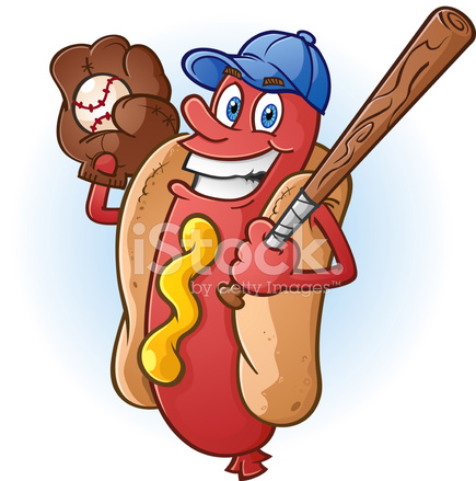 Personaje De Dibujos Animados De Béisbol Hot Dog Stock Vector