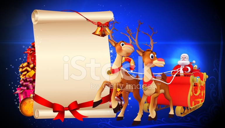 Santa Claus Con Gran Cartel Blanco Y SU Trineo