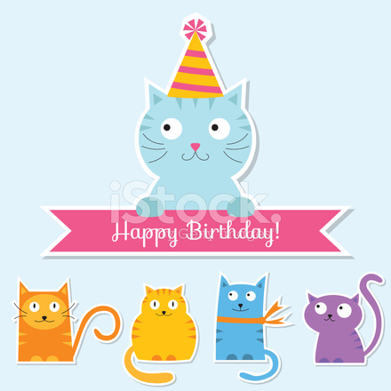 Verjaardag Instellen Met Katten Stock Vector Freeimages Com