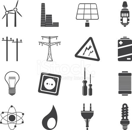 Silhouette Elektrizität, Kraft UND Energie Symbole Stock Vector ...