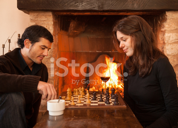Couple Playing Chess By The Fire Stock Photos Freeimages Com