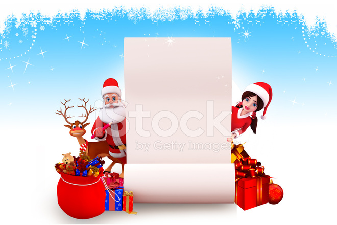 santa claus with big white sign and his team stock photos