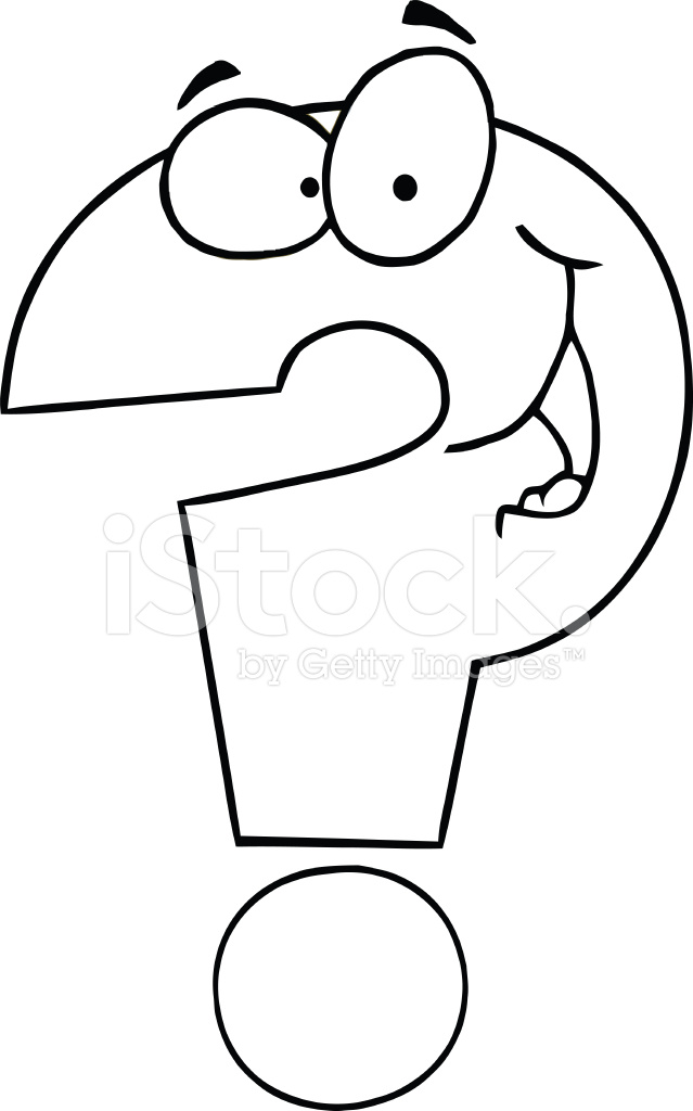 Black And White Smiling Question Mark Stock Vector
