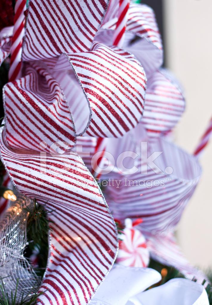 Christmas Candy Cane Ribbon Tree Decorations Stock Photos