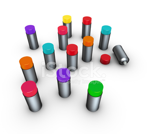 Spraydosen Farben.3d Render Gruppe Von Spraydosen In Verschiedenen Farben Auf