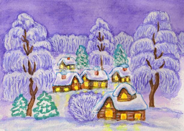 Kış Manzarası Boyama Stock Vector Freeimagescom
