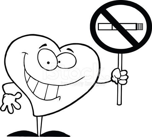 black and white red heart holds no smoking sign