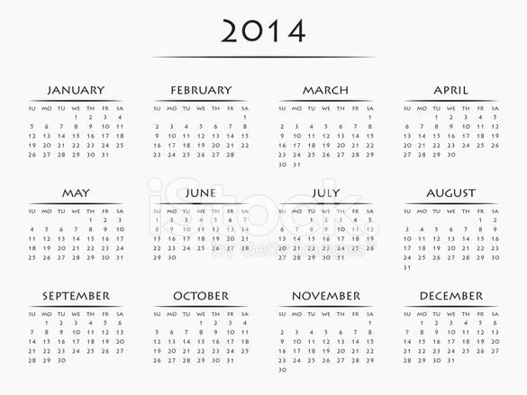 Calendario Anno 2014.Calendario Per L Anno 2014 Fotografie Stock Freeimages Com