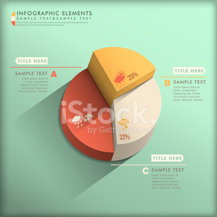 Abstract Flat Design Pie Chart Infographics Stock Vector