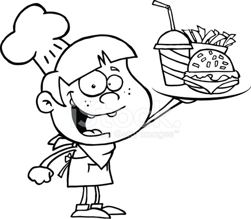 Black And White Boy Chef Holding Plate Of Fast Food