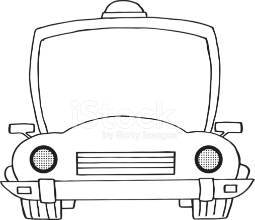 black and white police car stock vector