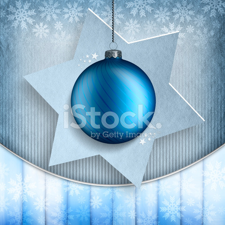 Christmas Card Template Blue Bauble And Stars Stock Photos - Christmas card template blue