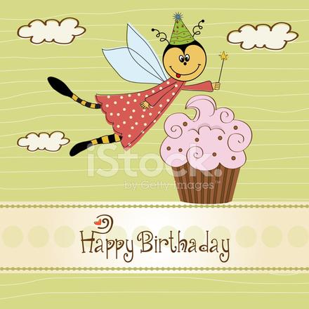 roliga födelsedagskort Barnslig Födelsedagskort Med Roliga Klädd Bee Stock Vector  roliga födelsedagskort