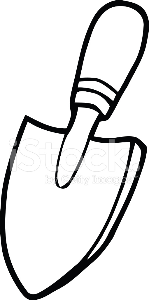 Masonry Trowel Black And White : Black and white gardening trowel stock vector freeimages