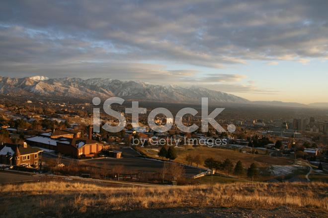 Salt Lake City Sunset With Mountain Stock Photos
