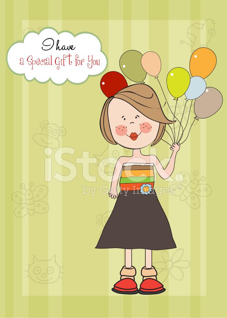 roliga födelsedagskort Rolig Tjej Med Ballong, Födelsedagskort Stock Vector   FreeImages.com roliga födelsedagskort