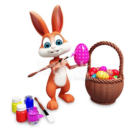 Conejo DE Pascua Para Colorear Huevos Marrones Fotografías de stock ...
