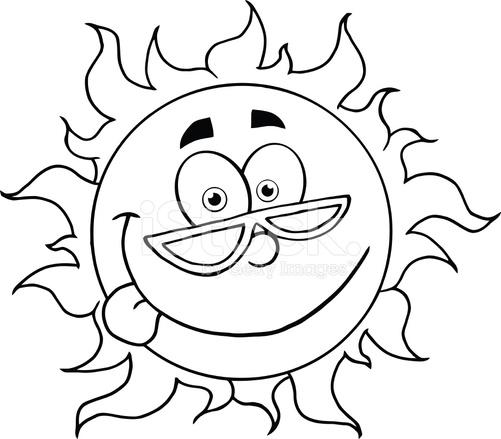 Bianco e nero fumetto sole con occhiali da stock