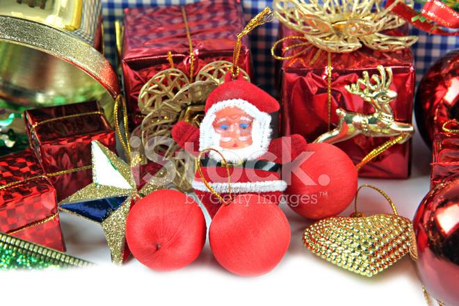 Santa doll en accessoire decoratie van kerstmis stockfoto s