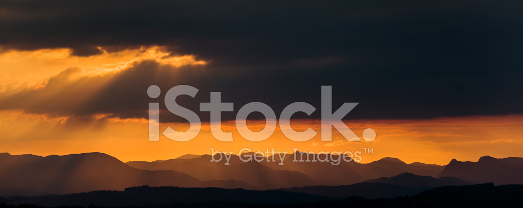 Inglese Lake District Cumbrian Mountains Al Tramonto Fotografie