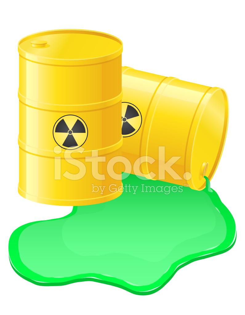 Yellow Barrels Spilled Radioactive Waste Vector Illustration Stock