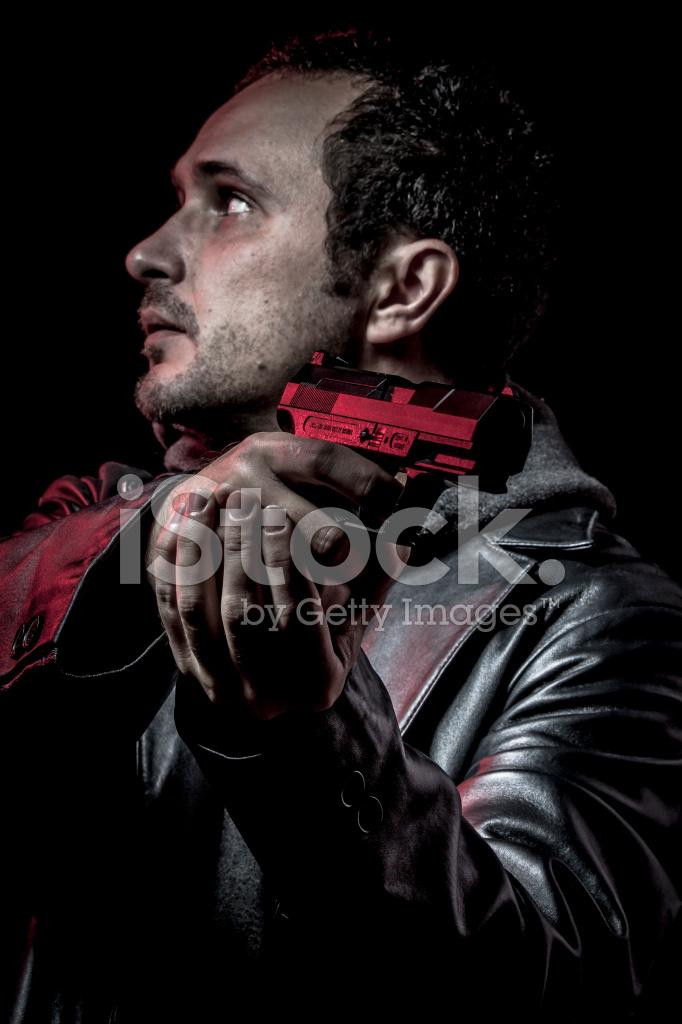 Armado Negra Un Ladrón De Con Chaqueta Hombre Villano Cuero AqSxwRp