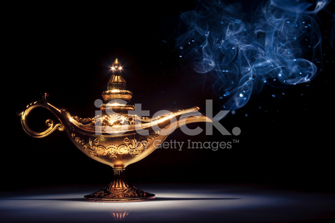 Magic Aladdinu0027s Genie Lamp On Black With Smoke