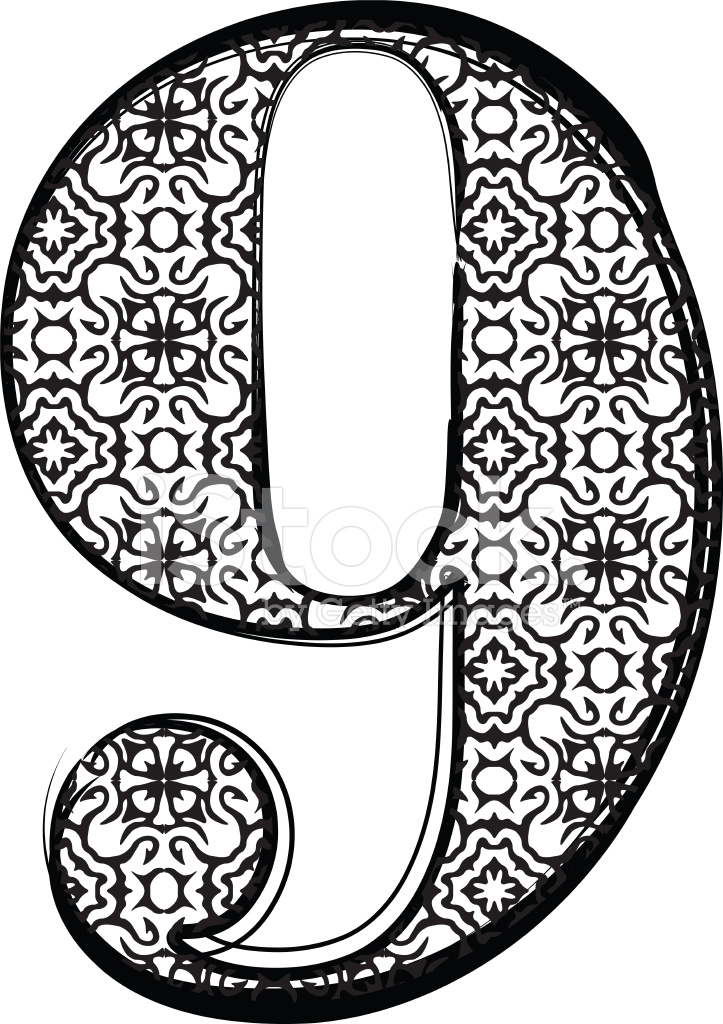 fashion font number 9 stock vector