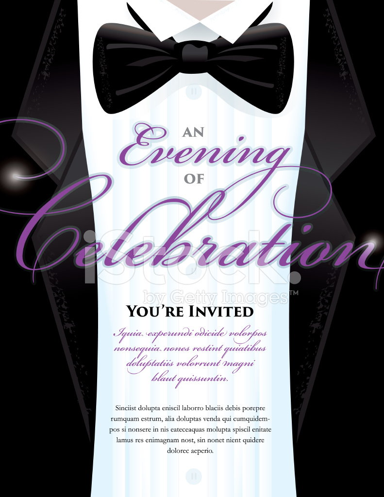 Elegant Black Tie Event Invitation Template With Tuxedo Design  Free Event Invitation Templates