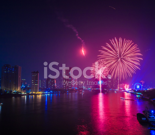 fireworks countdown happy new year bangkok asia thailand