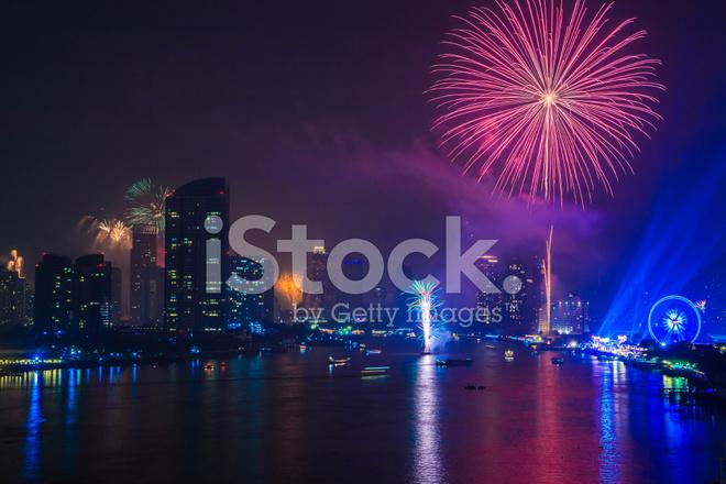 fireworks countdown happy new year bangkok asia thailand