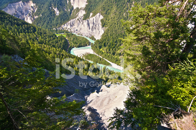 Rhine River Gorge IN Swiss Alps Switzerland Stock Photos - Swiss river to the rhine