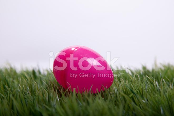 Pink Plastic Easter Egg On Grass