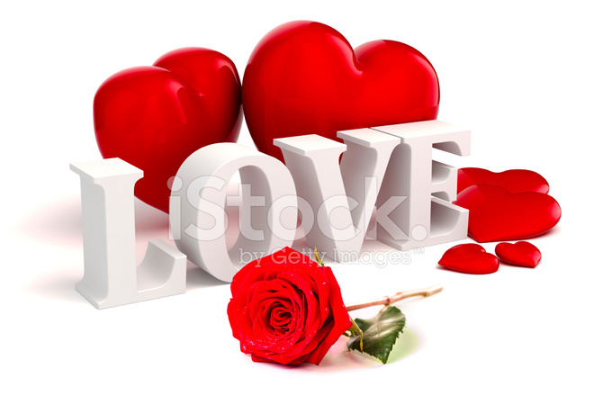 3d Love Text Red Hearts And Rose On White Background
