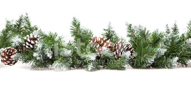 Decorative Border From A Christmas Tree Branches Stock Photos