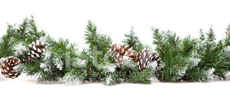 Dekorativa kantlinjer från en julgran grenar stockfoton