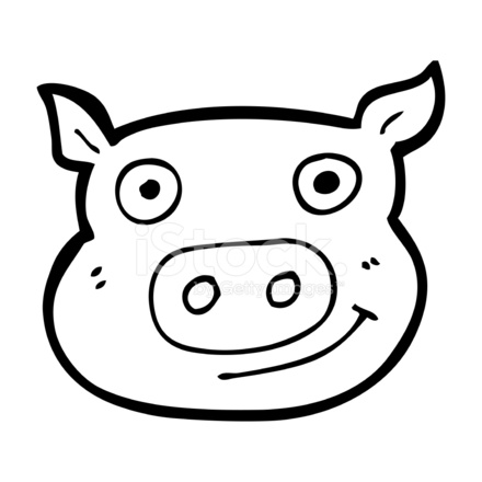 Cartoon Pig Face 572346 on herb border