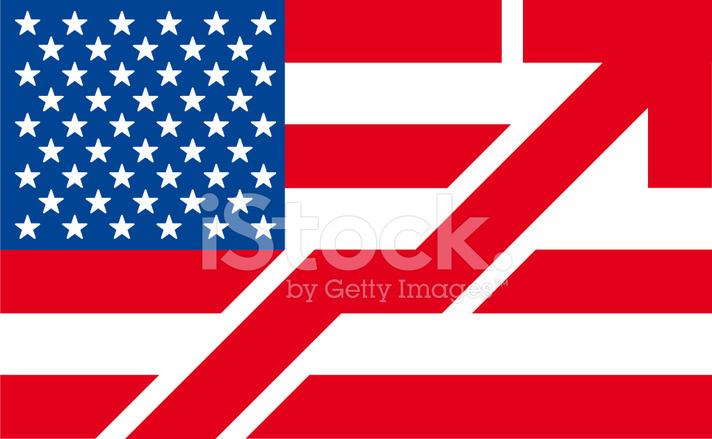 American Flag Symbol The Usa Flag On Up Arrow Stock Vector