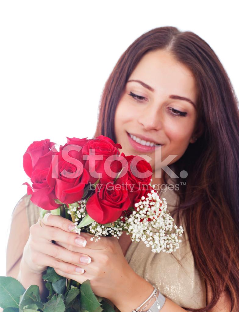 Frau MIT Einem Strauß Roter Rosen Stockfotos - FreeImages.com