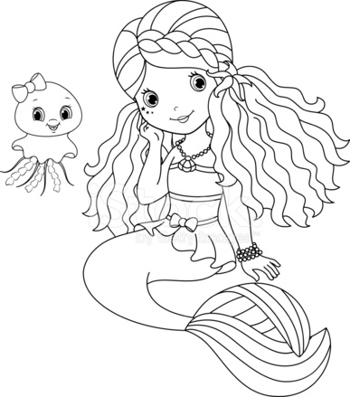 Mermaid Coloring Page Stock Vector Free
