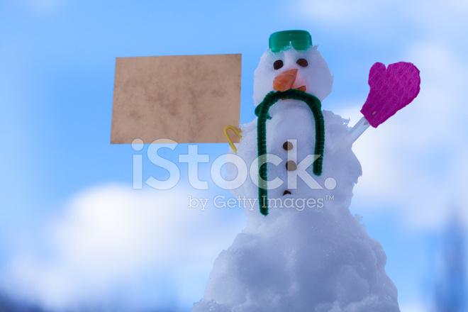 Wenig Glücklich Schneemann Papier Karte Weihnachtsbotschaft Im Loden ...