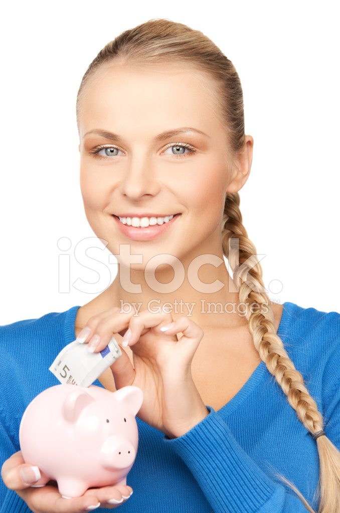 Lovely Woman With Piggy Bank And Money Stock Photos