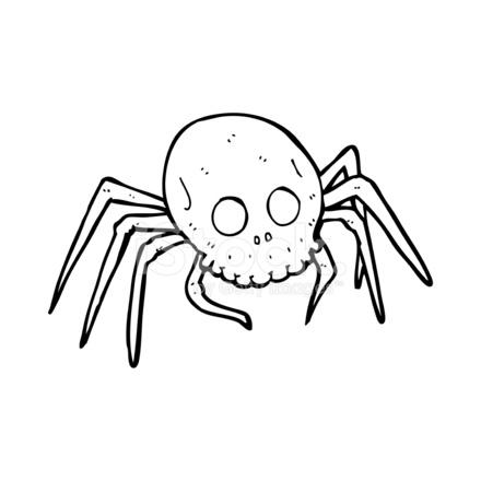 aranha de crânio halloween assustador dos desenhos animados stock