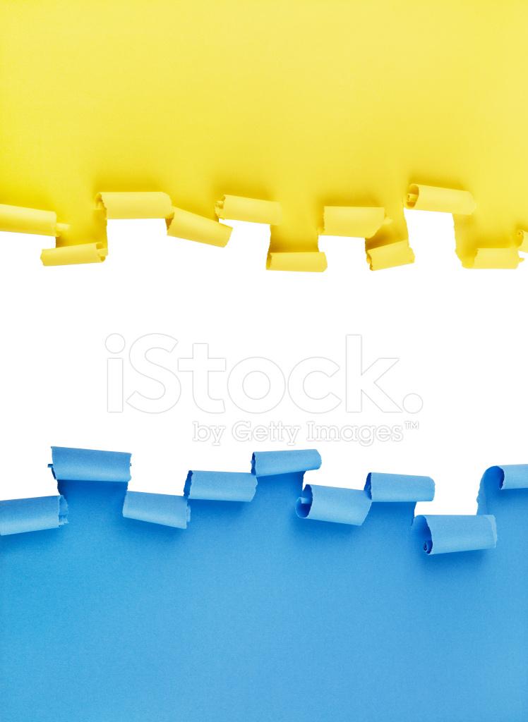 Plano DE Fundo Azul E Amarelo DE Papel Rasgado Fotos Do Acervo