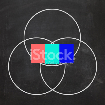 Three Letter Word Venn Diagram Shows Intersect Or Overlap Stock